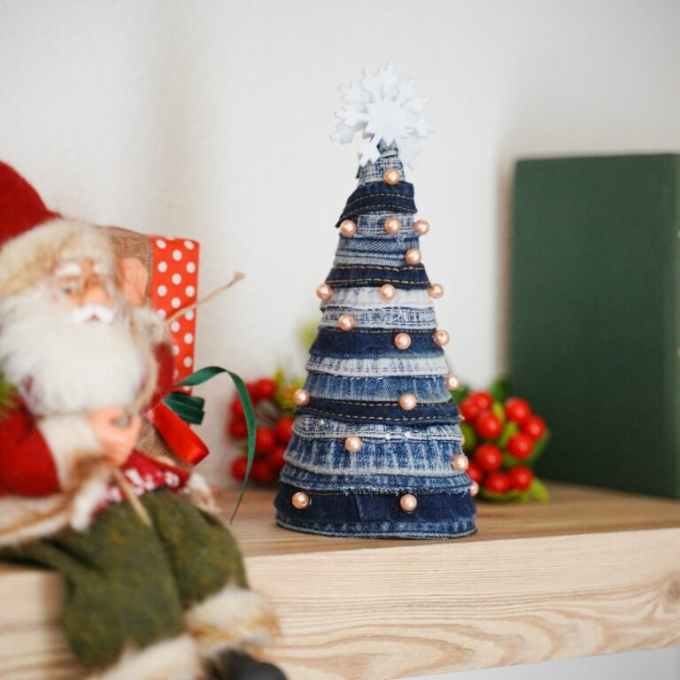 Mini denim tree on shelf