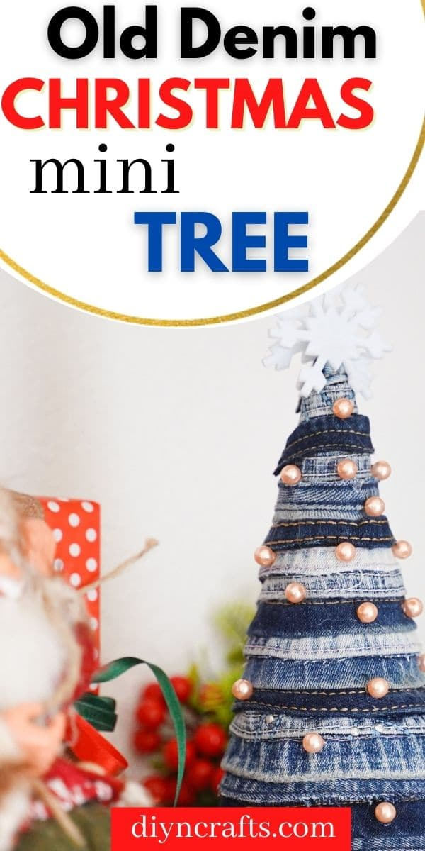 Mini denim tree on shelf