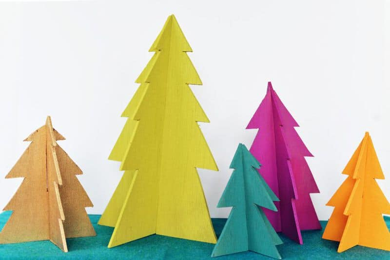 Colorful wooden trees
