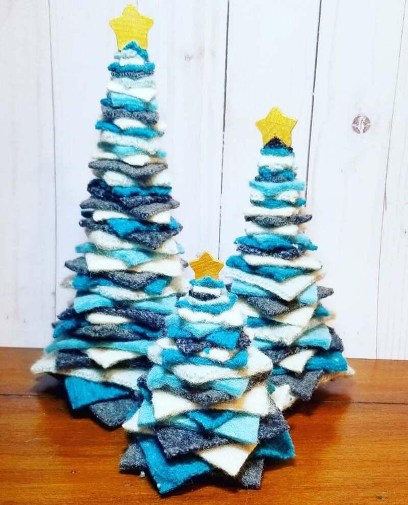 Blue felt christmas tree