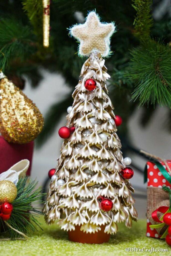 Gold pasta Christmas tree