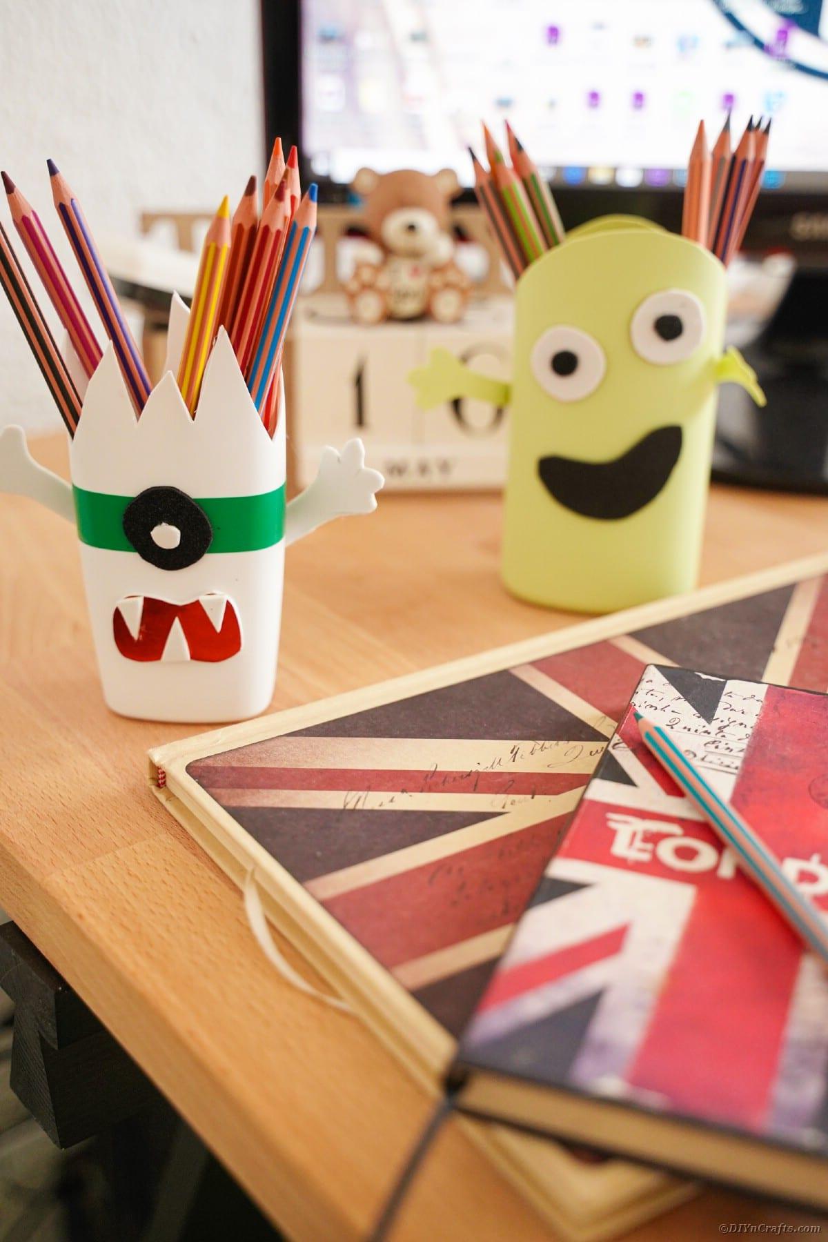 Pencil holders on desk