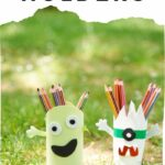 Pencil holders on grass