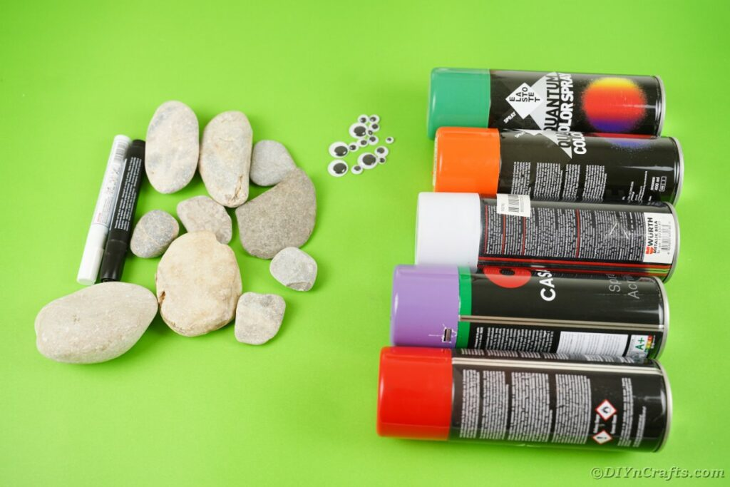 Supplies for halloween painted rocks