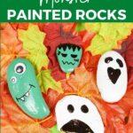 Painted rocks on fall leaves