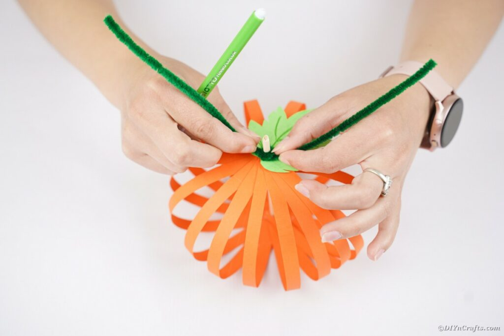 Wrapping pipe cleaner on top of pumpkin