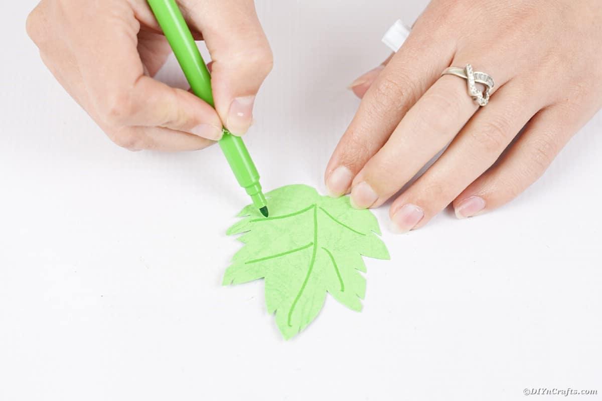 Drawing on leaf