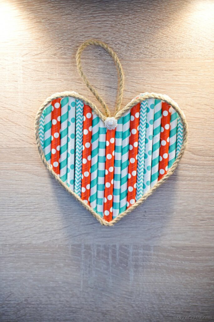 Heart hanging on wall