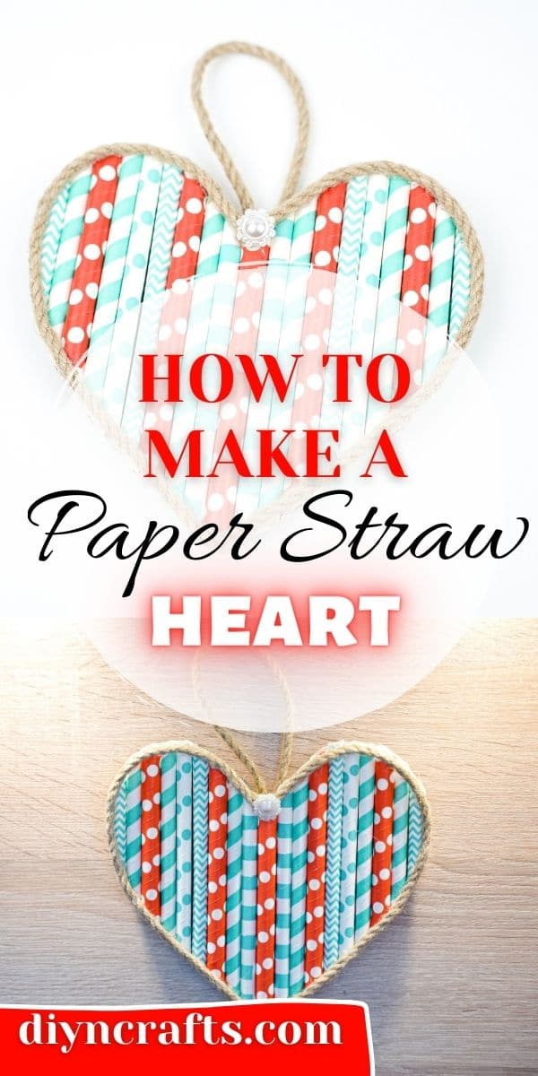 Paper straw heart collage