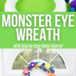 Pom pom monster wreath collage