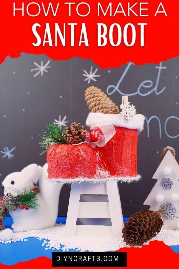 Santa boot by chalkboard