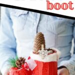 Woman holding santa boot