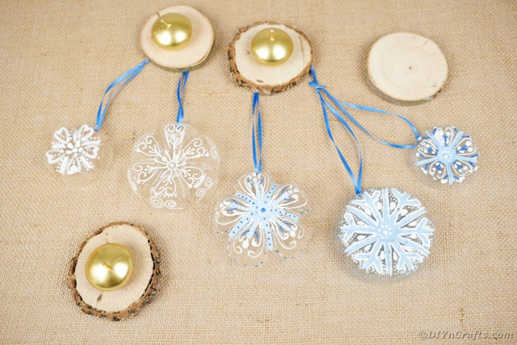 plastic bottle ornaments on brown paper