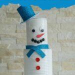Blechdose Schneemann gegen Mauer
