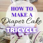 Tricycle diaper cake collage