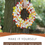 Autumn wreath made from leaves and recycled books
