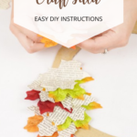 Autumn wreath made from leaves and recycled books instructions