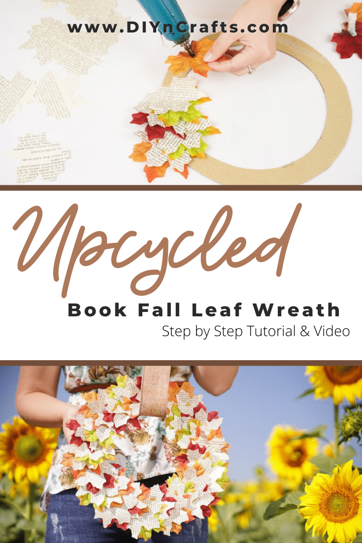 How to make and upcycled autumn leaf wreath from old books