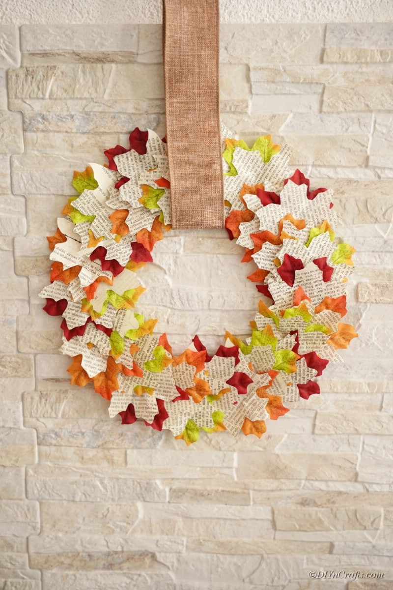 wreath hanging on stone wall