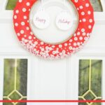 Button wreath for Christmas hanging outside