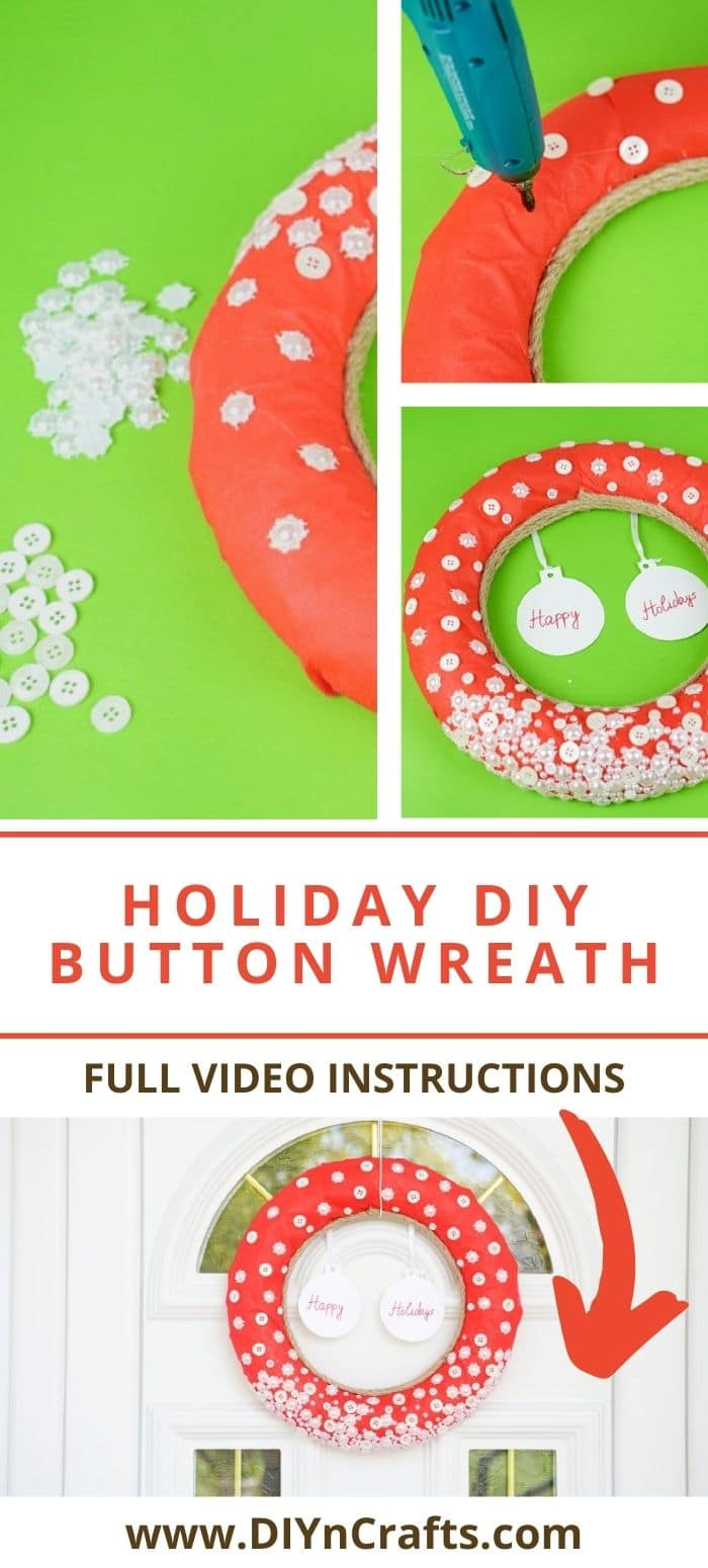 Step by step for making a holiday button wreath
