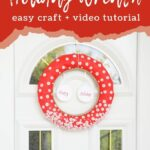Button wreath for Christmas on a door