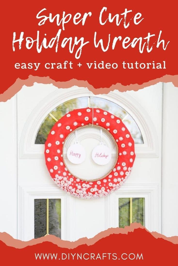 Button wreath for Christmas on a door