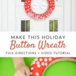 Button wreath for Christmas before and after