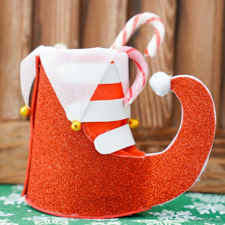Santa Themed Christmas Boots Craft Table Decoration