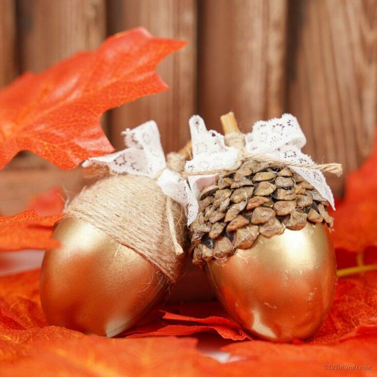 Stunning Decorative Golden Fall Acorn Craft