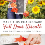 Fall door wreath with chalkboard step by step