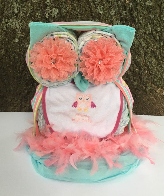 Owl diaper cake pink and aqua diaper cake unique diaper | Etsy