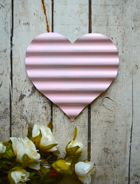 Pink Corrugated Heart Wall Heart Hanging pink heart | Etsy