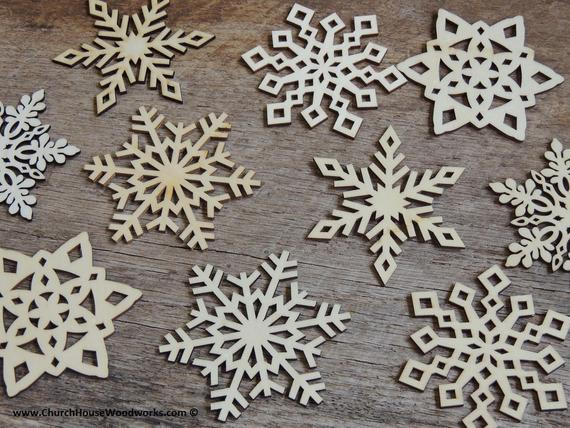 3 inch Snowflake Wood Christmas Ornaments 10 pack Style MIX | Etsy