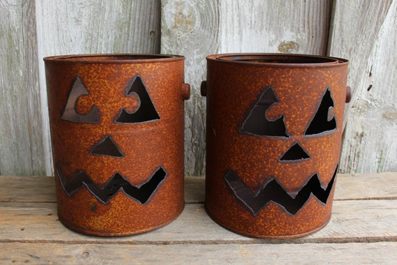 Rusty Metal Can Pumpkin Jack O Lantern Lightfall porch | Etsy