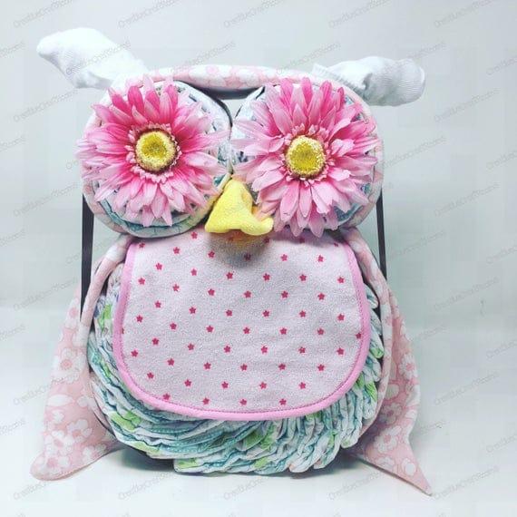 Newborn Baby Diaper Cake Owl Diaper Cake Owl Baby Gift Mom | Etsy