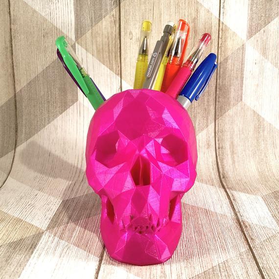 Skull Low Poly Pen Holder Large Gothic Desk Tidy Desk | Etsy
