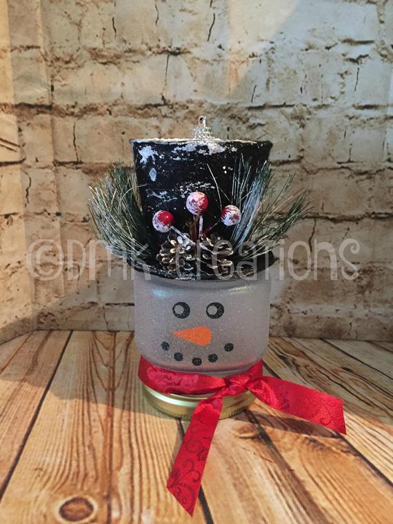 Mason Jar Snowman Light snowman mason jar Christmas | Etsy