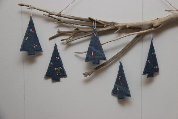 Denim Christmas Tree Ornament Christmas Tree Decor | Etsy