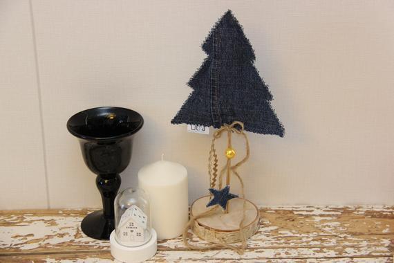 Denim Christmas Tree Recycled Denim Table Decor With Birch | Etsy