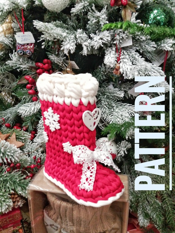 Christmas boot crochet pattern pattern pdf T shirt yarn | Etsy