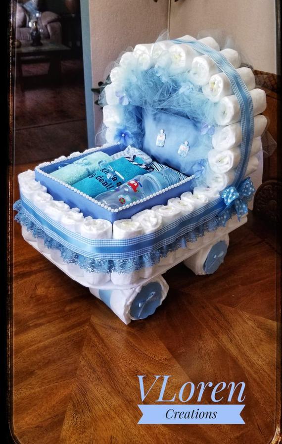 Baby Gift Diaper Cake Blue Carriage Bassinet Stroller Basket | Etsy