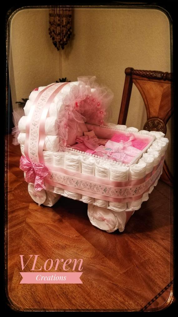 Baby Gift Diaper Cake Pink Carriage Bassinet Stroller Basket | Etsy