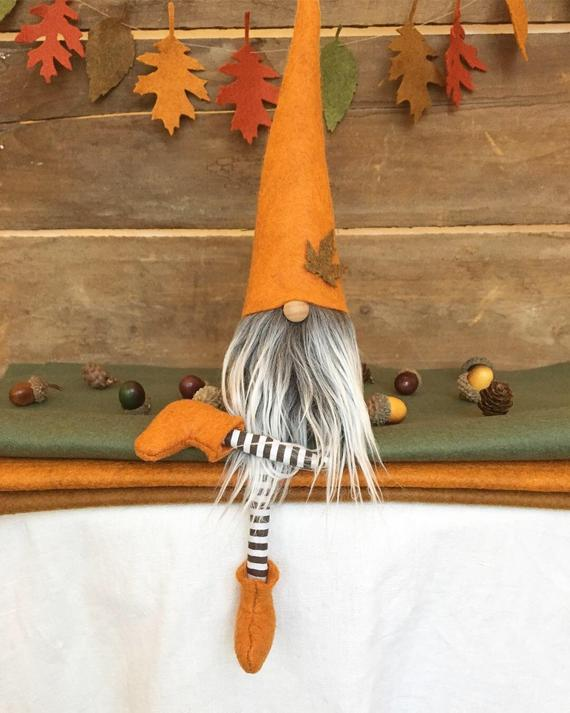 Fall/Autumn Gnome Nisse 9 inch Pumpkin color with | Etsy