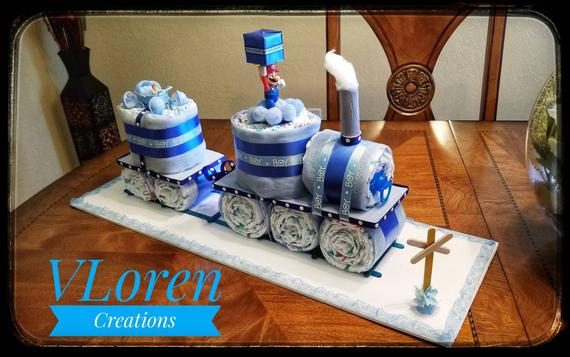 Baby Gift Blue Train Diaper Cake for Boys Baby Shower | Etsy