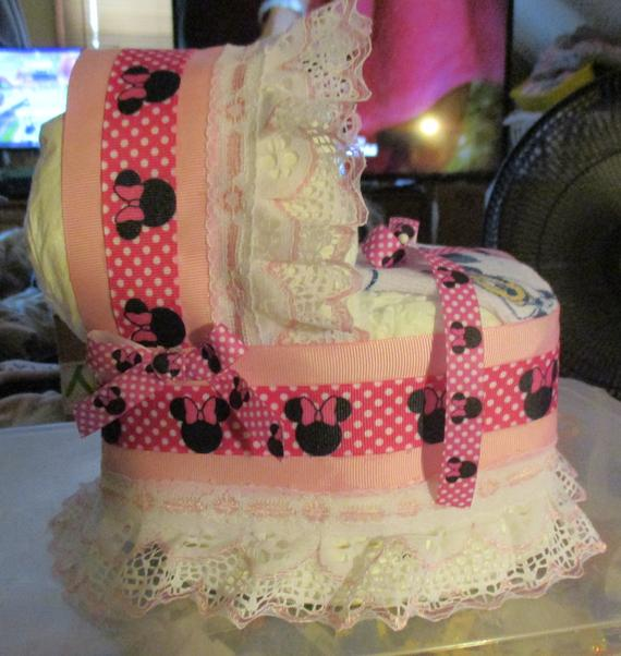 Minnie Mouse Mini Bassinet Diaper Cake Baby Shower Gift | Etsy