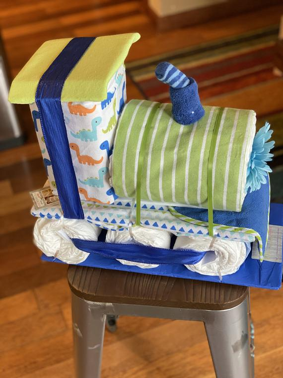 Train Engine Diaper Cake | Etsy
