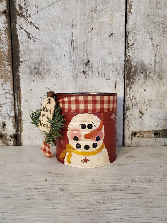 Primitive Snowman Coffee Tin Primitive Christmas Hand | Etsy