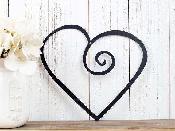 Heart Metal Wall Art Valentines Metal Sign Metal Wall | Etsy