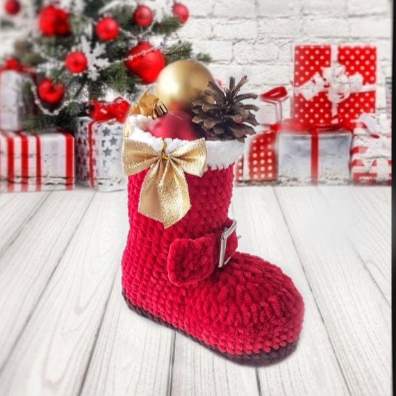 Crochet Pattern christmas decor Santa Boot Basket PDF Gift | Etsy